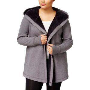 1f840b1a2de IDEOLOGY ID Warm Plus Size Gray Open Front Fleece Wrap Coat Sweater ...