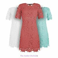 WOMENS NEW LADIES FLORAL STRETCHY ROUND NECK FULL CROCHET TUNIC DRESS 8-14