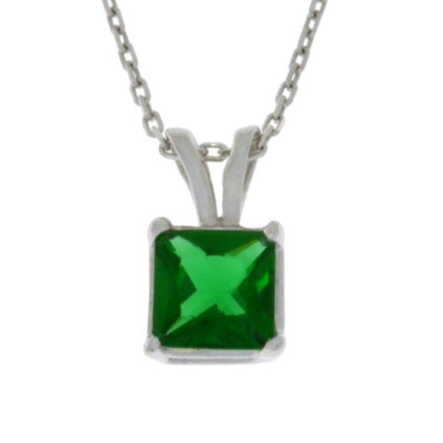 1 Ct Emerald 6mm Princess Cut Pendant .925 Sterling Silver