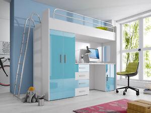 Etagenbett Schreibtisch : Halbhochbett hochbett schreibtisch kinderbett etagenbett bett in
