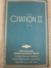 ORIGINAL SURVIVOR 1984 CHEVROLET CITATION II  OWNERS MANUAL COMPLETE