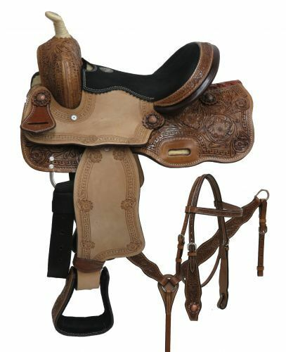 12 Double Tpony saddle set  with floral tooling  best service