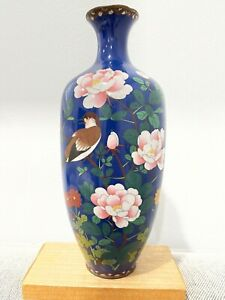 Antique Japanese Cloisonne Vase w/ Bird & Flowers Decoration Signed w/ Bird Mark