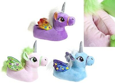 Womens Girls Novelty 3D Character Plush Magical Winged Unicorn Slippers Gift