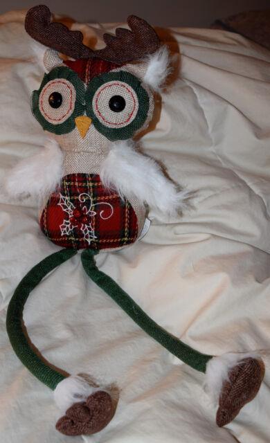 "Owl Figurine 5/"" Dangling Legs Beanbag Plush Bowtie"