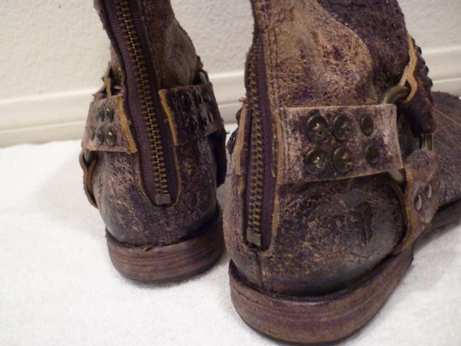 $398 Distressed FRYE Tall Phillip Studded Distressed $398 Chocolate Braun Harness Stiefel SZ 6.5 fb11c3