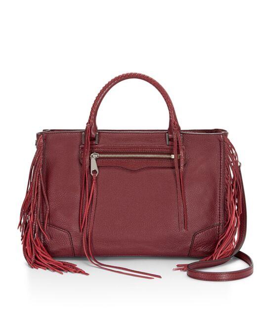 Nwt Rebecca Minkoff Fringe Regan Port Leather Satchel Tote Handbag Red