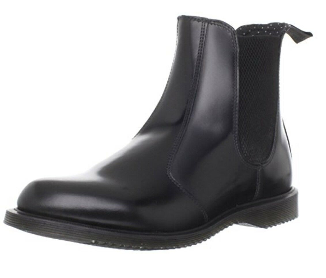Dr. Martens Women's Flora Ankle Chelsea Boot BLACK POLISHED SMOOTH SIZE 11