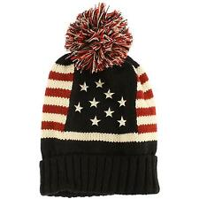Winter Vintage Stars Stripe Knit USA Flag Beanie Skull Ski Pom Pom Hat Cap Black