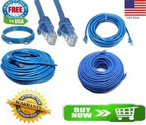 CAT6-Patch-Network-Cable-Rj45-Ethernet-6ft-10ft-25ft-50ft-100ft-200ft-lot-Blue