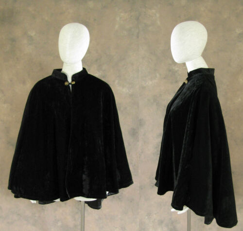 Vintage Scarves- New in the 1920s to 1960s Styles    Victorian Lined Black Velvet Half Cape Cloak Civil War Dickens Cosplay Edwardian $54.99 AT vintagedancer.com