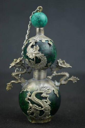 Chinese Tibetan silver Dragon and Phoenix green Jade snuff bottle