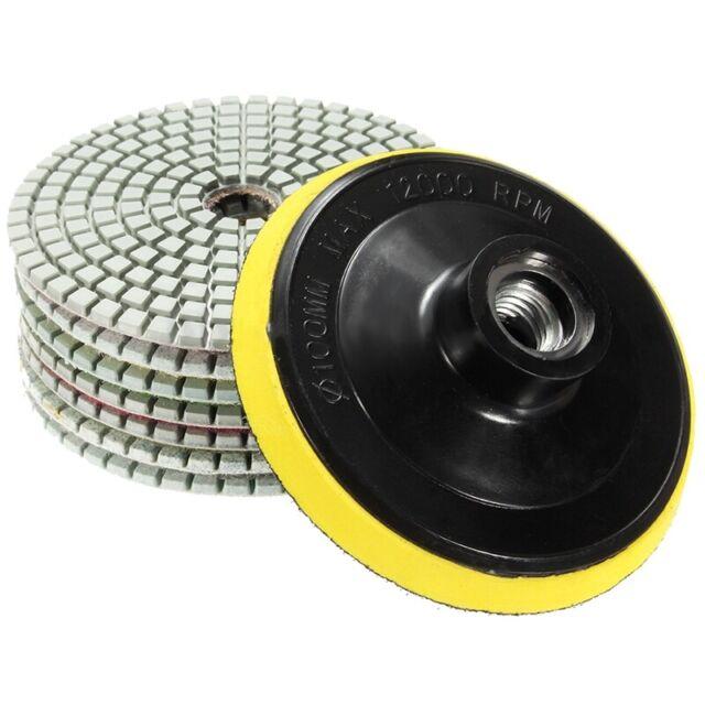 8Pcs Diamond Polishing Pads 4 inch Wet/Dry Set For Granite Stone Concrete M A5H8