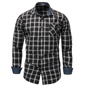 New-Fashion-Men-039-s-Slim-Fit-Shirt-Cotton-Long-Sleeve-Shirts-Casual-Shirt-Tops