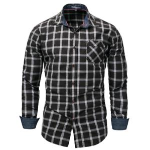 New-Fashion-Men-039-s-Slim-Fit-Shirt-Cotton-Long-Sleeve-Shirts-Casual-Shirt-Tops