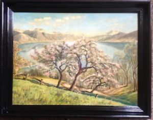 :: Cherry Blossoms on the Rhine? Oil Paintings Signed Frame Summer Day Meadow Antique Slope