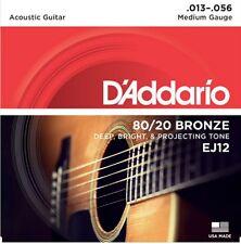 D'Addario EJ12  Acoustic Guitar Strings 80/20 Bronze Medium 13-56