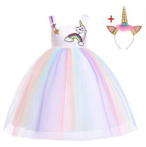 Children Kids Girl/'s Flower Girls Unicorn Tutu  Party Dress Up Costume ZG9