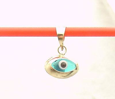 3D Oval Ocean Blue Evil Eye Good Luck Charm Pendant Real 14K Yellow Gold CUTE!