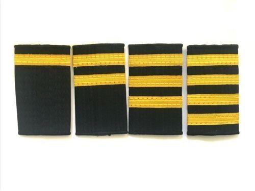 3 Bar Black Pilot Airline Merchant Marine Epaulettes Three Gold Strips Epaulette