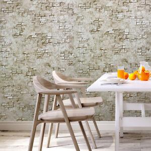 Vinyl Wallpaper Textured Brown Faux Plaster Stone Brick Modern
