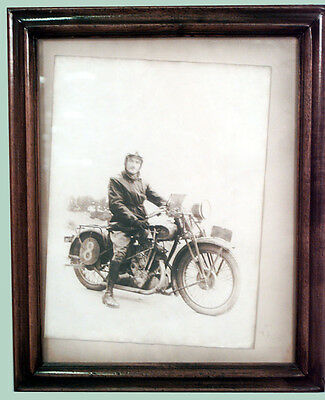 Walnut Framed Photograph of Man on Motorcycle