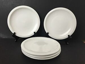 "Lot of 5 White Culinary Arts Cafeware Porcelain 10"" Dinner Plates"