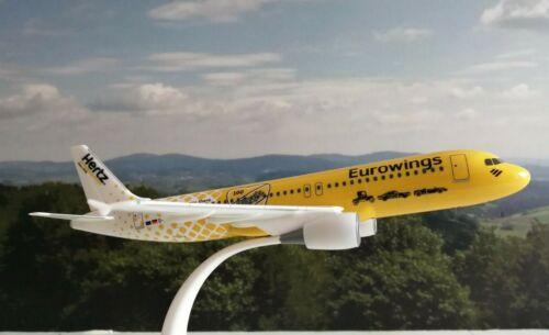 """Herpa Wings Snap Fit 1:200 Eurowings A320 /""""Hertz 100 Jahre/"""" 612449 18.50cm"""