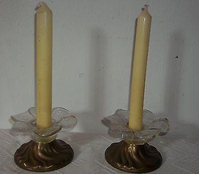 20th Century Lamps Logical 2 Old Tischleuchter-leuchter-messing-glasschale-kerzenleuchter