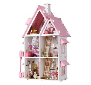 Dream Large Villa DIY Wood Dollhouse Light Miniature Furniture Kit Handcraf Gift