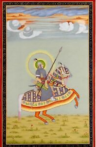 Mughal-Miniature-Portrait-Of-Indian-King-Riding-On-Royal-Horse-With-Weapons