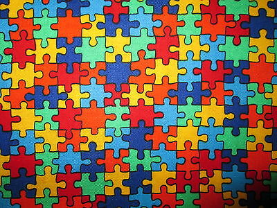 "Cotton Jigsaw Puzzle /""Autism Awareness/"" Cotton Fabric Print by the Yard D682.13"