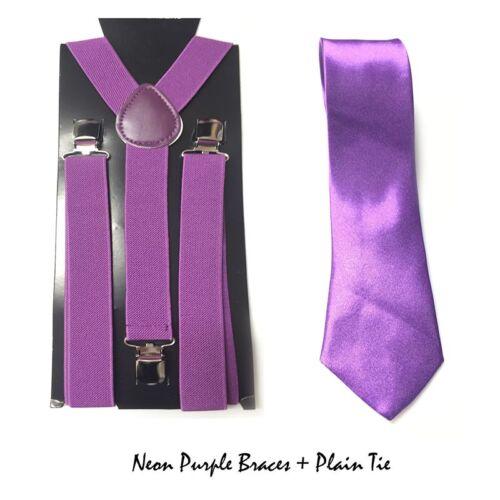 Neon Skinny Braces Ties Set Unisex Tutu School Geek Nerd Halloween Fancy Dress