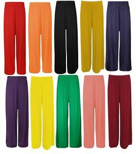 New Womens Wide leg Flared Plus size Plain Palazzos Trousers Pants 6-26