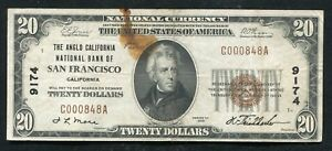 1929 $20 THE ANGLO CALIFORNIA NATIONAL BANK OF SAN FRANCISCO, CA CH. #9174 (C)