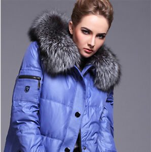 Silver-Fox-Fur-Collar-Down-Jacket-Hood-Trimming-Scarf-Natural-Silver-70-18cm-US