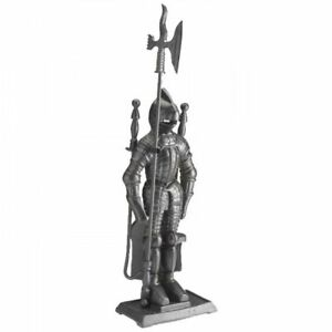 Crafters Cast Iron Knight Soldier Companion Set Fireside Fire Tools Poker Brush 689989762170
