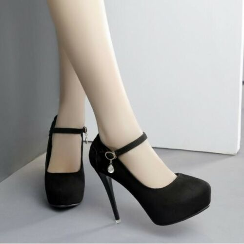 Zapatos de Salón Stiletto 12 Elegantes Negro Cinturón Plataforma Piel Sintético