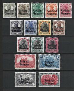 Germany Bayern Rare WW1 Stamps 1919 Bayern Germany Overprint Classic Collection
