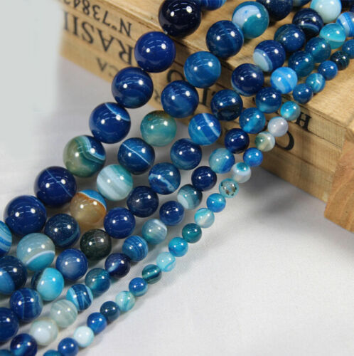 Colourful  6//8//10//12mm Blue Striped Agate Round Gemstone Loose Beads 15/'/'