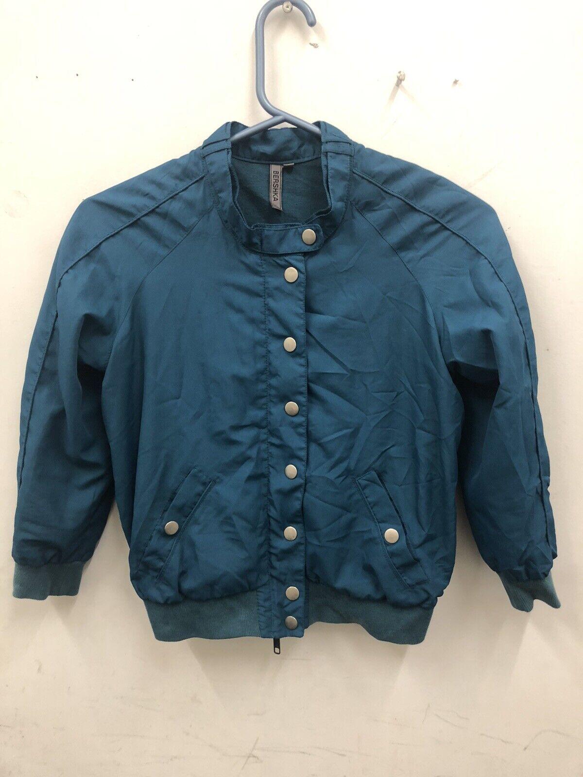bershka Ladies Lightweight Turquoise Cropped bomber style jacket Size S