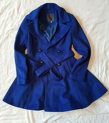 Women Winter Trench Coat - Swing Style - Royal Blue Color - Size 6 Possessing Chinese Flavors