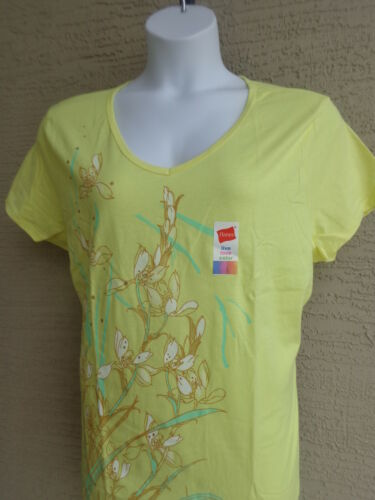 NWT Hanes Live Love Color Cotton S//S V Neck Graphic tee Shirt 2X Yellow Multi