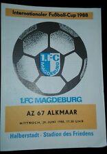 Programm 1.FC Magdeburg AZ 67 Alkmaar  IFC Cup 1988 DDR Nederland FCM programma