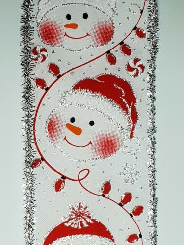 "bows 2.5/"" christmas ribbon crafts per metre glittered Luxury cute snowman"