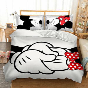 Duvet Cover Bedding Set With Pillow Cases Mickey Mouse Minnie Quilt Cover Set Ebay