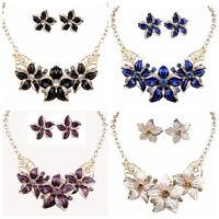 Bib Collar Necklace Crystal Acrylic Charm Flower Chain Choker Chunky Statement