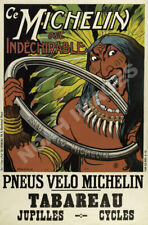 """1912 French Bicycle Advertising Poster 18x24 /""""Pneu Velo Michelin/"""""""