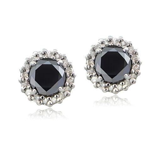 Sterling Silver 1.15 ct TDW Noir et Blanc Diamant Halo Clous D/'Oreilles
