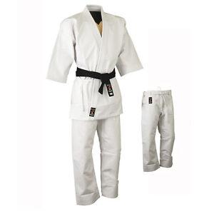 Playwell-Karate-455ml-Schwer-Uniform-Weiss-Japanisch-Schnitt-Gi-Kampfsport